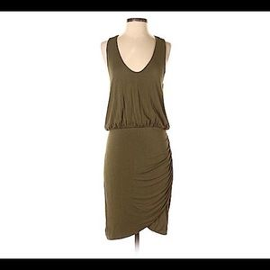 Banana Republic Ruched Racerback Dress in Army